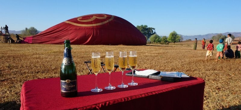 Following a successful flight, each passenger receives a certificate and a glass of champagne.